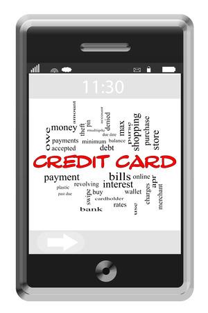 이러한 지불, 부채,이자 등과 같은 좋은 조건에 터치 스크린 전화의 신용 카드 단어 구름 개념입니다.
