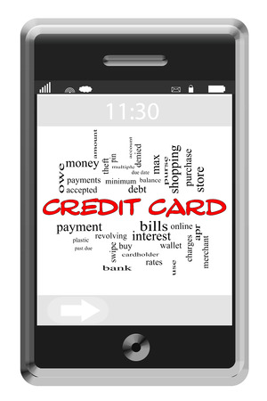 cardholder: Credit Card Word Cloud Concept of Touchscreen Phone with great terms such as payment, debt, interest and more. Stock Photo