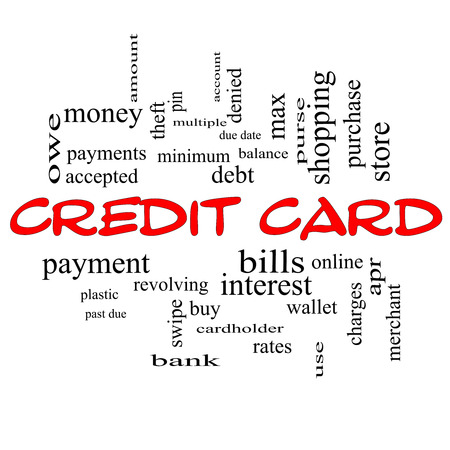 cardholder: Credit Card Word Cloud Concept in red caps with great terms such as debt, balance, interest, charges and more.