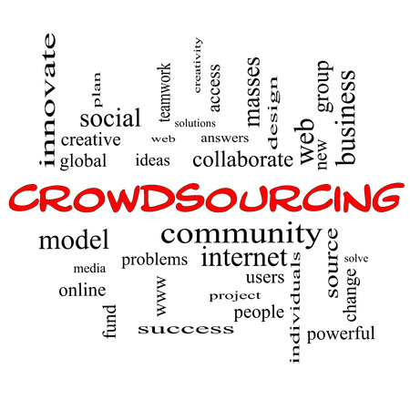Crowdsourcing Word Cloud Concept in red caps with great terms such as community, group, project, ideas and more. photo