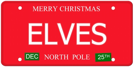 december 25th: An imitation license plate with December 25th stickers and ELVES written on it making a great concept.  Words elsewhere Merry Christmas and North Pole.
