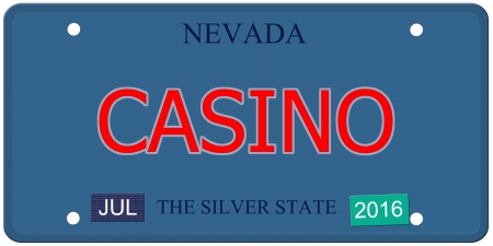silver state: An imitation Nevada license plate with July 2016 stickers and CASINO written on it making a great concept.  Words elsewhere Silver State. Stock Photo
