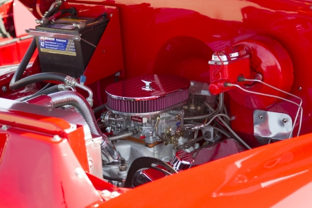 WAUPACA, WI - AUGUST 24:  Engine of a Red Chevy Antique PickUp Truck at Waupaca Rod and Classic Annual Car Show August 24, 2013 in Waupaca, Wisconsin.