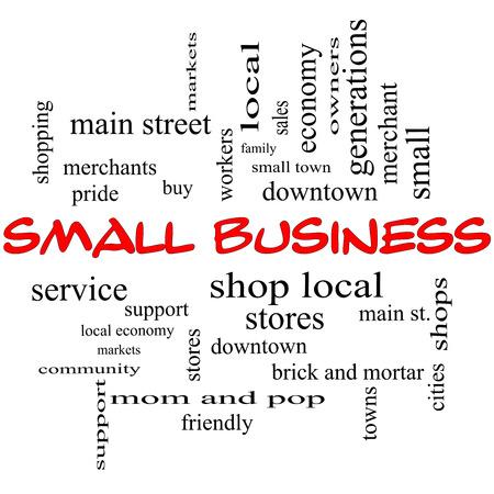 小さなビジネス単語クラウドのコンセプト ショップ、ローカル、コミュニティ、サポート、店舗などの偉大な条件で赤い帽子で。