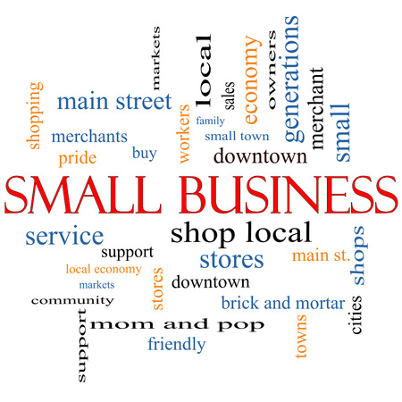 Small Business Word Cloud Concept with great terms such as shop, local, community, support, stores and more. photo