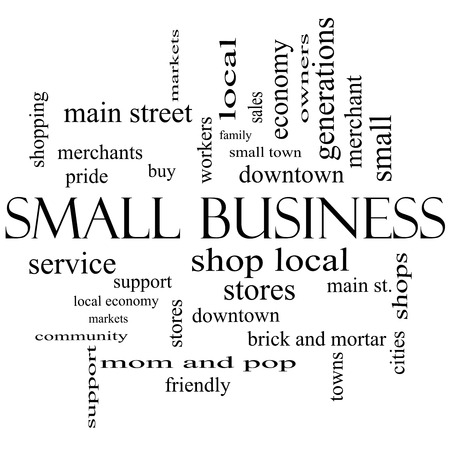 Small Business Word Cloud Concept in black and white with great terms such as shop, local, community, support, stores and more. photo