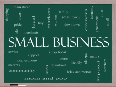 Small Business Word Cloud Concept on a Blackboard with great terms such as shop, local, community, support, stores and more. photo