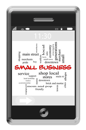 Small Business Word Cloud Concept of Touchscreen Phone with great terms such as support, local, shops and more. photo