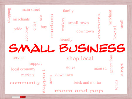 Small Business Word Cloud Concept on a Whiteboard with great terms such as shop, local, community, support, stores and more. photo