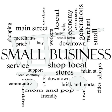 Small Business Word Cloud Concept with shopping cart in background with great terms such as shop, local, community, support, stores and more. photo