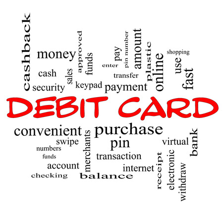 Debit Card Word Cloud Concept in red caps with great terms such as swipe, merchants, payment, pin and more. photo