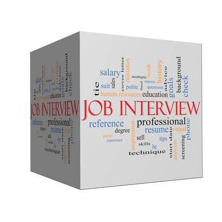 Job Interview Word Cloud Concept on a cube with great terms such as suit, education, resume, degree, hr and more. 版權商用圖片