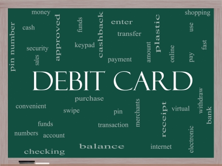 Debit Card Word Cloud Concept on a Blackboard with great terms such as swipe, merchants, payment, pin and more. photo