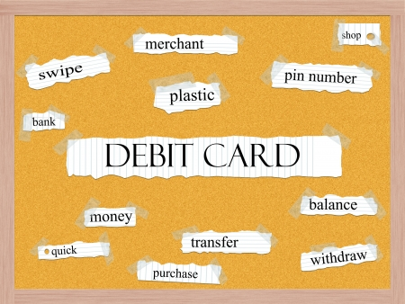 merchant: Debit Card Corkboard Word Concept with great terms such as merchant, plastic, money, pin and more.