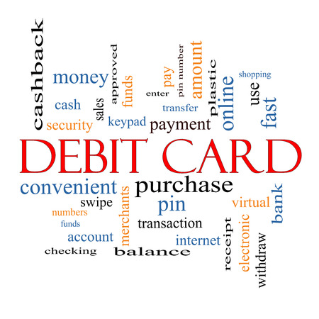 swipe: Debit Card Word Cloud Concept with great terms such as swipe, merchants, payment, pin and more. Stock Photo