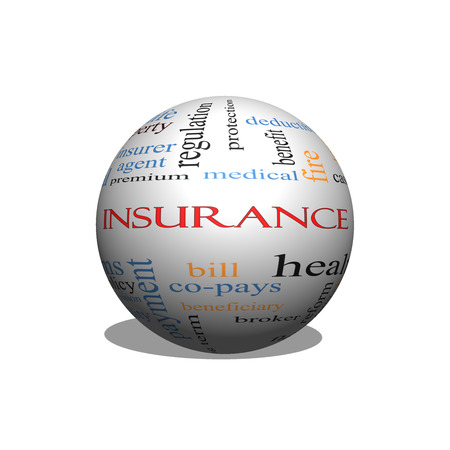underwriter: Insurance Word Cloud Concept on a Sphere with great terms such as medical, copay, bills and more.