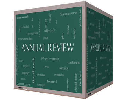 Annual Review Word Cloud Concept on a 3D Cube Blackboard with great terms such as job performance, plan, hr, goals and more. photo