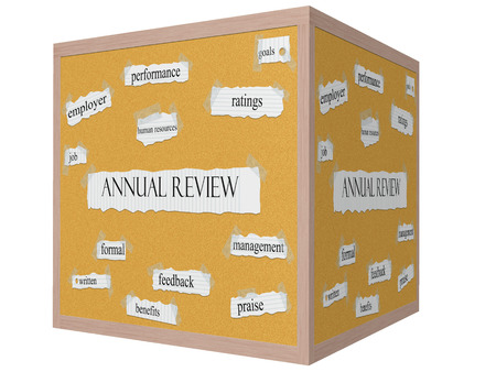 votaciones: Revisi�n anual en un Cube Panel de corcho Palabra Concepto 3D con t�rminos de la talla de rendimiento, las calificaciones, las metas y m�s. Foto de archivo