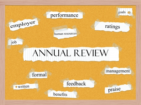 Annual Review Corkboard Word Concept with great terms such as performance, ratings, goals and more. Stock Photo
