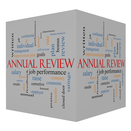 Annual Review Word Cloud Concept on a 3D Cube with great terms such as job performance, plan, hr, goals and more. photo