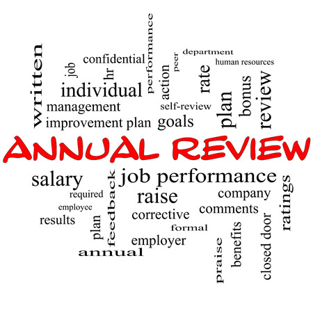 peer to peer: Annual Review Word Cloud Concept in red caps with great terms such as job performance, plan, hr, goals and more.