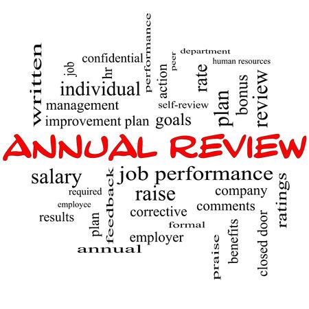 peer to peer: Revisión anual Palabra Nube Concepto de gorras rojas con grandes términos como rendimiento en el trabajo, planificar, hr, metas y más.