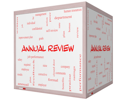 Annual Review Word Cloud Concept on a 3D cube Whiteboard with great terms such as job performance, plan, hr, goals and more. photo