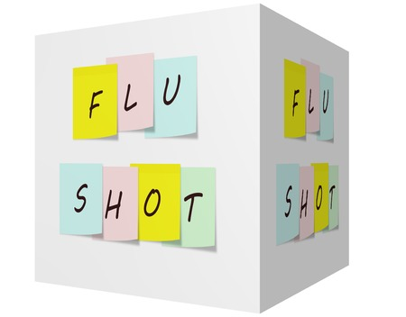 flu shot: Flu Shot on Colorful Sticky notes on a 3D cube making a great reminder concept. Stock Photo