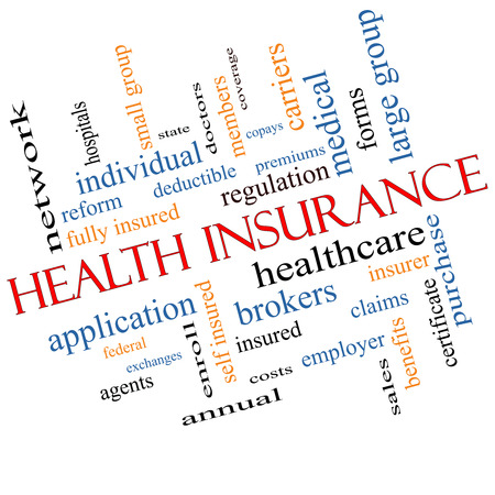 premiums: Health Insurance Word Cloud Concept Angled with great terms such as healthcare, reform, enroll, claims and more. Stock Photo