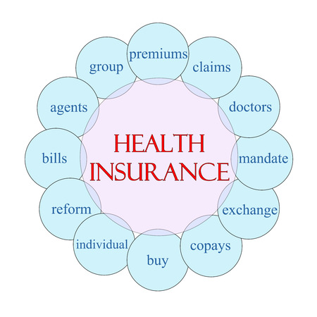 claims: Health Insurance concept circular diagram in pink and blue with great terms such as premium, claims, mandate and more. Stock Photo