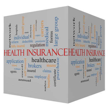 Health Insurance Word Cloud Concept on a 3D Cube with great terms such as healthcare, reform, enroll, claims and more. Stock Photo