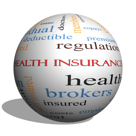 premiums: Health Insurance Word Cloud Concept on a 3D Sphere with great terms such as healthcare, reform, enroll, claims and more.