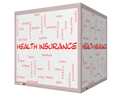premiums: Health Insurance Word Cloud Concept on a 3D cube Whiteboard with great terms such as healthcare, reform, enroll, claims and more. Stock Photo
