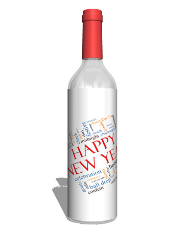 Happy New Year on a Bottle Word Cloud Concept with great terms such as celebration, holiday, countdown, kiss and more. photo