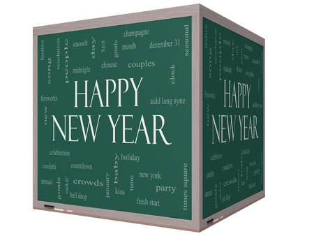 Happy New Year Word Cloud Concept on a 3D cube Blackboard with great terms such as celebration, holiday, countdown, kiss and more. photo