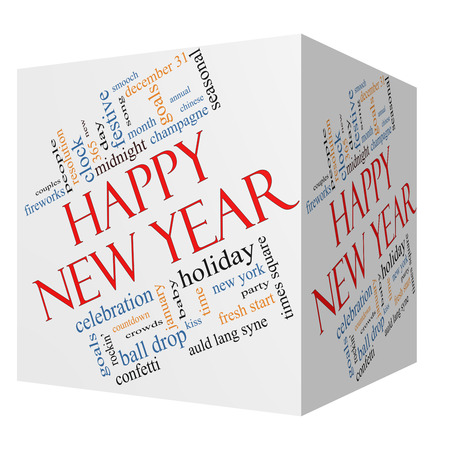 Happy New Year 3D Cube Word Cloud Concept with great terms such as celebration, holiday, countdown, kiss and more. photo