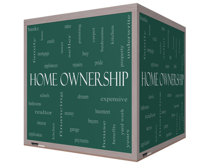 Home Ownership Word Cloud Concept on a 3D cube Blackboard with great terms such as property, dream, pride, bank and more. photo