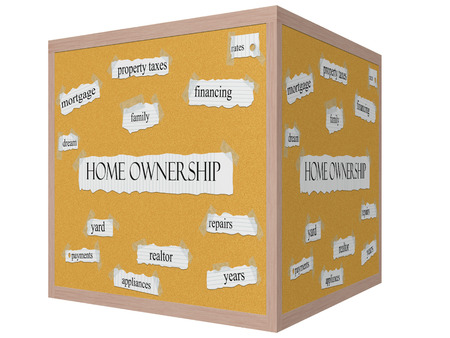 Home Ownership 3D Cube Corkboard Word Concept with great terms such as rates, family, yard, dream and more. photo