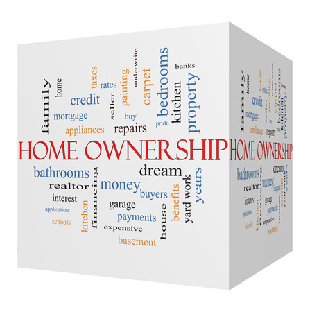 Home Ownership 3D cube Word Cloud Concept on a Blackboard with great terms such as property, dream, pride, bank and more. photo
