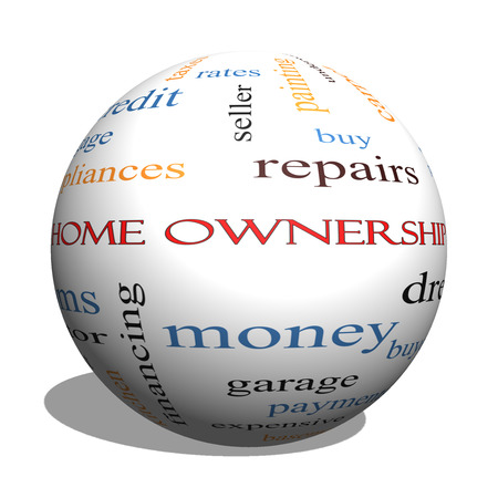 Home Ownership 3D Sphere Word Cloud Concept on a Blackboard with great terms such as property, dream, pride, bank and more. photo