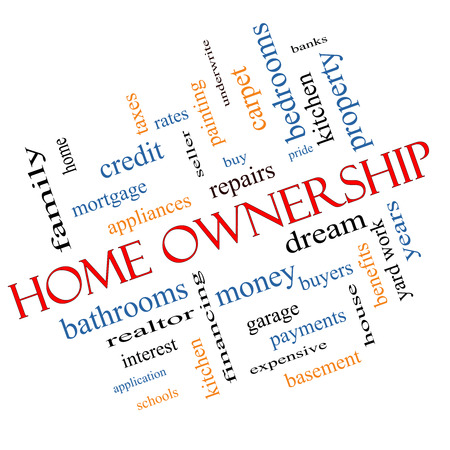 underwrite: Home Ownership Word Cloud Concept Angled with great terms such as property, dream, pride, bank and more. Stock Photo