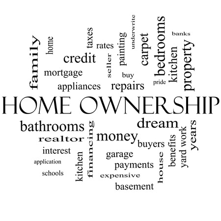 underwrite: Home Ownership Word Cloud Concept in black and white with great terms such as property, dream, pride, bank and more.