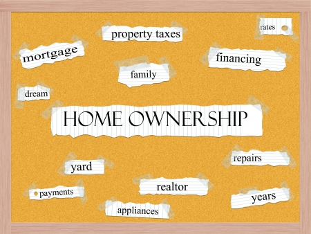 Home Ownership Corkboard Word Concept with great terms such as rates, family, yard, dream and more. photo