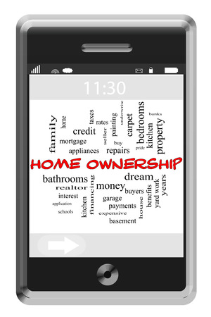 underwrite: Home Ownership Word Cloud Concept of Touchscreen Phone with great terms such as dream, pride, bank, yard and more.