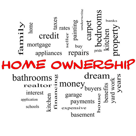 Home Ownership Word Cloud Concept in red caps with great terms such as property, dream, pride, bank and more. photo