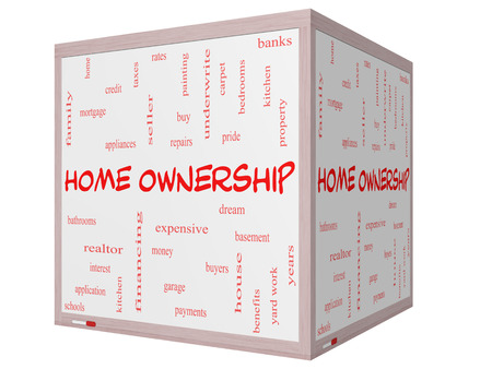 Home Ownership Word Cloud Concept on a 3D Cube Whiteboard with great terms such as property, dream, pride, bank and more. photo