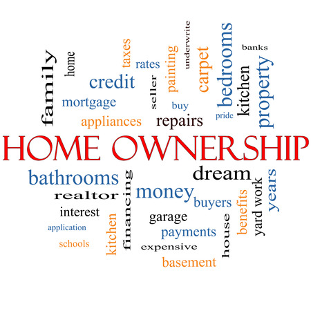 Home Ownership Word Cloud Concept with great terms such as property, dream, pride, bank and more. photo