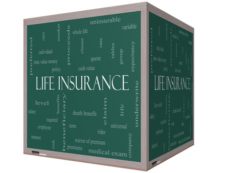 premiums: Life Insurance Word Cloud Concept on a 3D Cube Blackboard with great terms such as term, whole life, rider, quote and more. Stock Photo