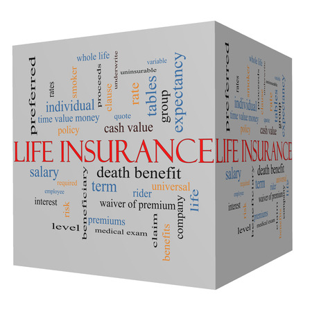 premiums: Life Insurance Word Cloud Concept on a 3D Cube with great terms such as term, whole life, rider, quote and more.