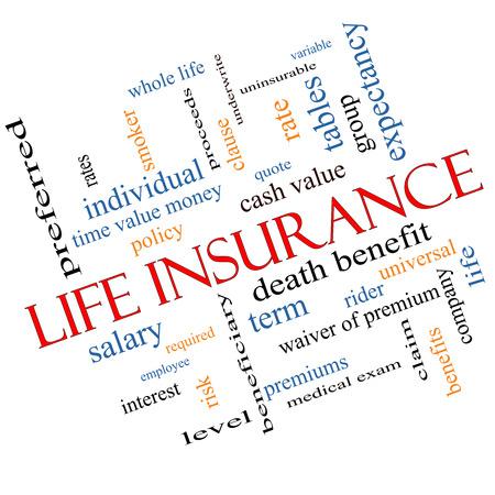 Life Insurance Word Cloud Concept schuin met grote termen als term, hele leven, ruiter, citaat en meer.